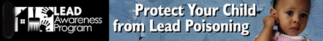 image of young child plus slogans 'lead awareness program' and 'protect your child from lead poisoning'